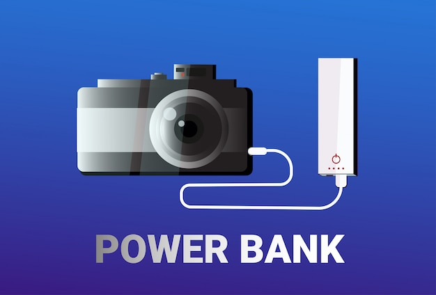 Power bank charging camera portable charger concept mobile battery device