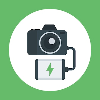 Power bank charging camera, portable charger flat icon, vector illustration