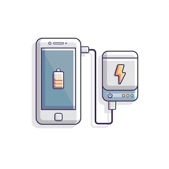 Power bank charging smartphone battery concept