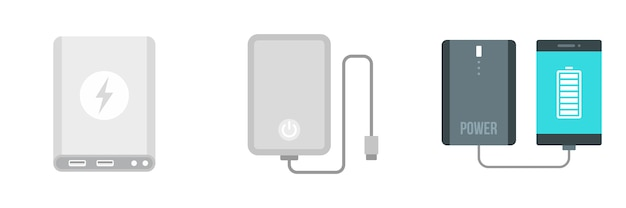 Power bank icon set
