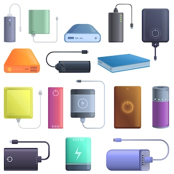 Power bank icons set, cartoon style
