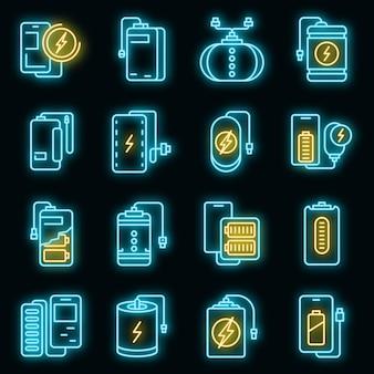 Набор иконок power bank вектор неон