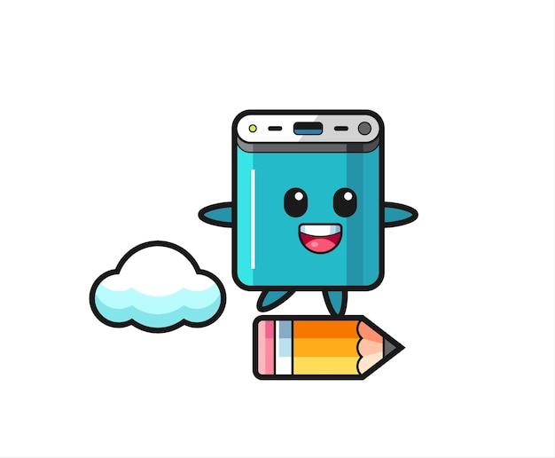 Иллюстрация талисмана power bank верхом на гигантском карандаше, милый стильный дизайн для футболки, наклейки, элемента логотипа