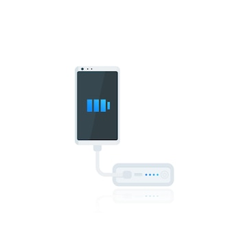 Power bank and smartphone, portable phone charging device, vector