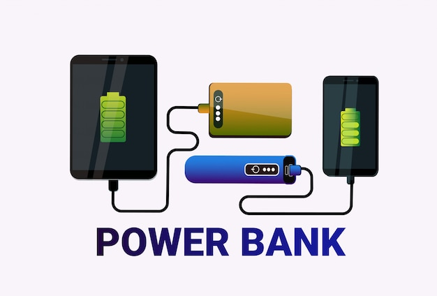 Power banks charging smart phones portable mobile battery concept