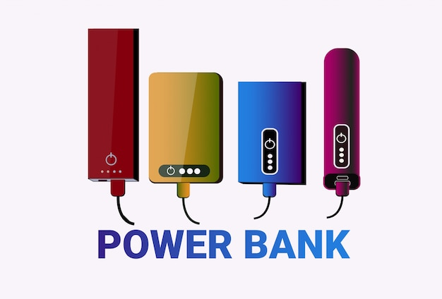 Power banks set colorful chargers collection portable battery device