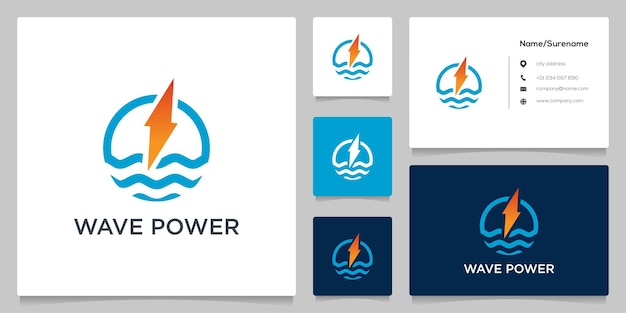 Power bolt energy and water wave logo design