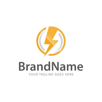Power bolt thunder fast express electric logo vector template