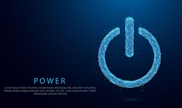 Power button concept on low poly wireframe blue illustration on dark background. lines and dots.