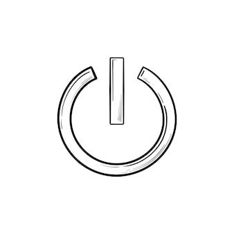 Кнопка питания рисованной наброски каракули значок. включение и выключение, кнопка запуска, технология и концепция энергии
