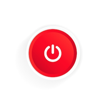 Power on button icon. red button power. push-button power of. vector illustration.