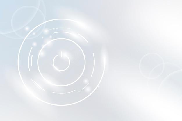 Sfondo della tecnologia del pulsante di accensione in tono bianco