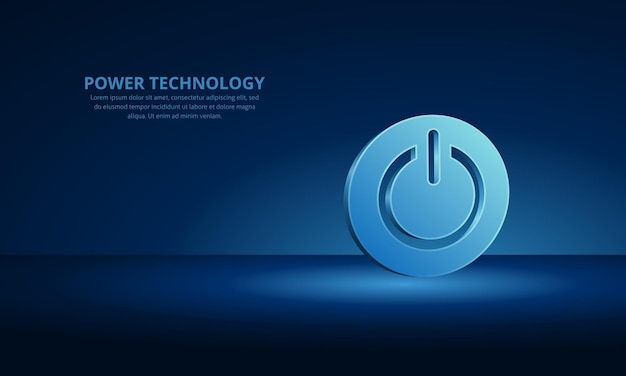 Power button technology cybersecurity and hightech background