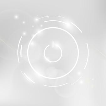 Icona bianca del pulsante di accensione