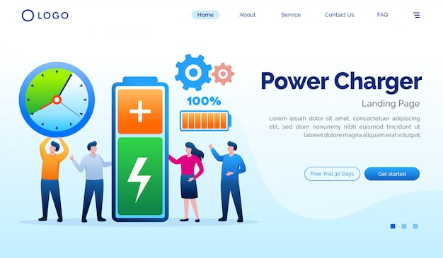Power charger landing page website flat vector template