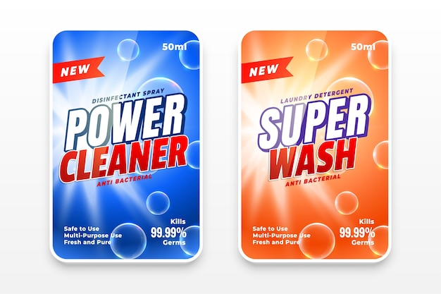 Power cleaner and super wash disinfectant labels