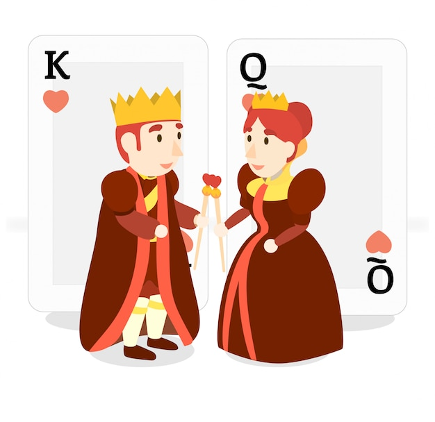 Power costume happy king and queen red gold heart love out deck meet each other valentine