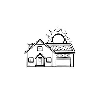 Энергоэффективный дом рисованной наброски каракули значок. жилой дом с использованием векторной иллюстрации эскиза солнечной энергии для печати, интернета, мобильных устройств и инфографики, изолированных на белом фоне.