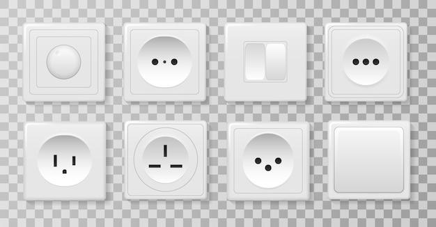 Силовая розетка, электричество выключите и включите реалистичные картинки. квадратный прямоугольный и круглый белый настенный выключатель и розетки. набор различных типов выключателей питания. иллюстрации.
