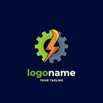 Power energy gear logo gradient style with thunder lightning for industrial technology business company