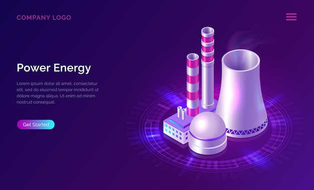 Power energy isometric concept with nuclear plant