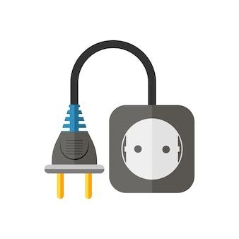 白で隔離されるフラットなデザインの電源延長コード