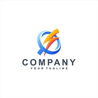 Дизайн логотипа power flash gradient