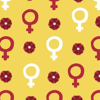 女性の性別と花のベクトルイラストデザインのパワーガールシームレスパターン