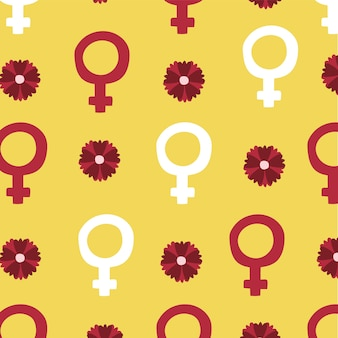 Power girl seamless pattern with female genders and flowers vector illustration design