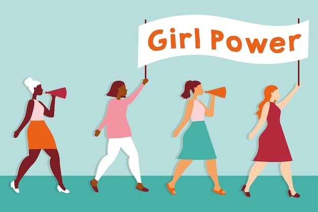 Power girl with interracial girls protesting with placard vector illustration design