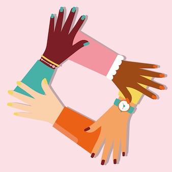 Power girl with interracial hands together vector illustration design