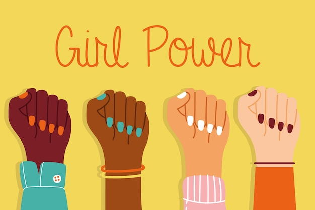 Power girl with interracial hands up together vector illustration design