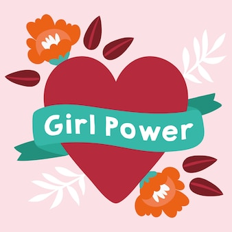 Power girl with lettering in ribbon and heart vector illustration design