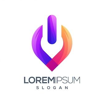 Power gradient color logo design