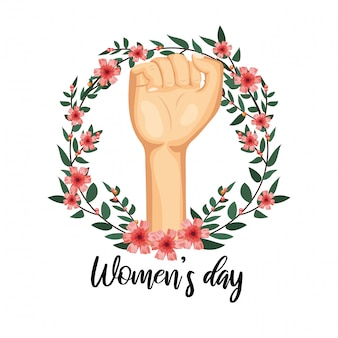 Power hand up with flowers to womens day celebration