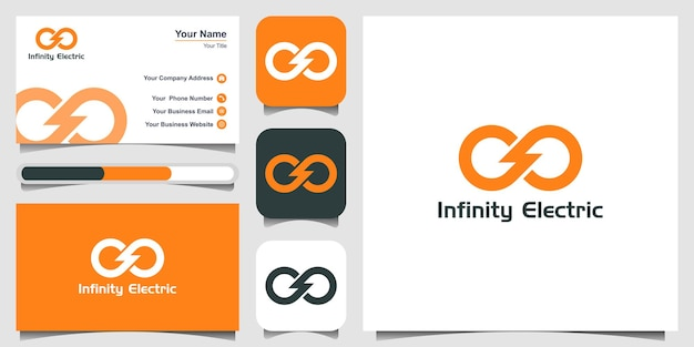 Power infinite energy logo design icon and business card