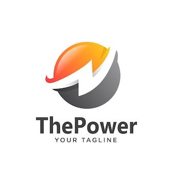 Power logo gradient simple clean 3d
