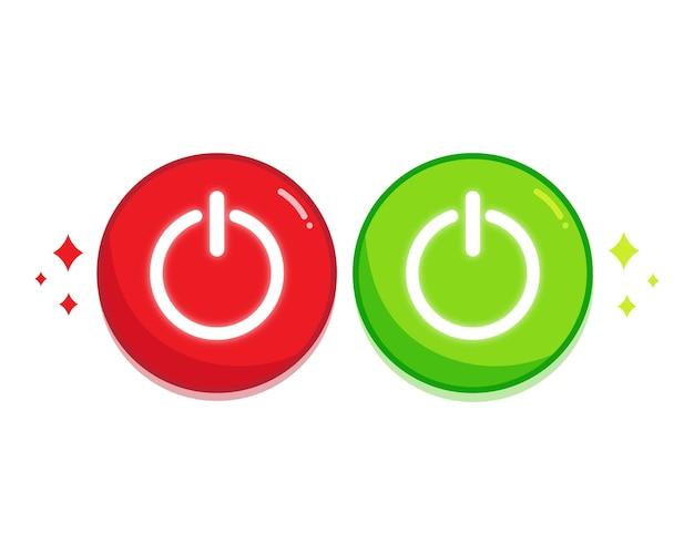 Accendi e spegni l'illustrazione dell'arte del set di icone del pulsante rosso e verde