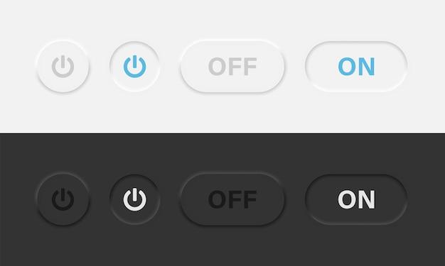 ニューモルフィックベクターデザインの電源オンボタンと電源オフボタン。明るいテーマと暗いテーマのニューモルフィズムスタイルのパワーアイコン。ベクターイラストeps10