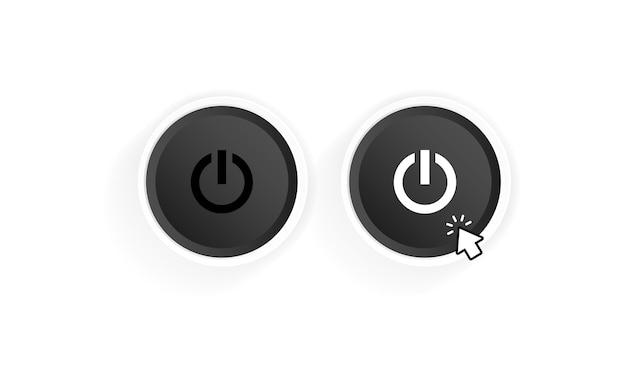 전원 켜기 버튼 아이콘입니다. 블랙 버튼 전원. 푸시 버튼 전원. 커서로 전원을 켭니다. 벡터 일러스트 레이 션.