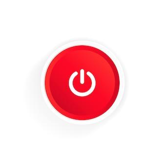 전원 켜기 버튼 아이콘입니다. 빨간 버튼 전원. 푸시 버튼 전원. 벡터 일러스트 레이 션.