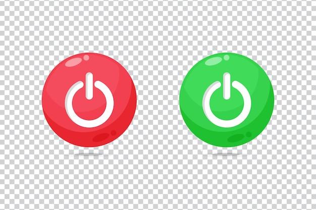空白の背景にある赤と緑のボタンアイコンの電源をオフにします