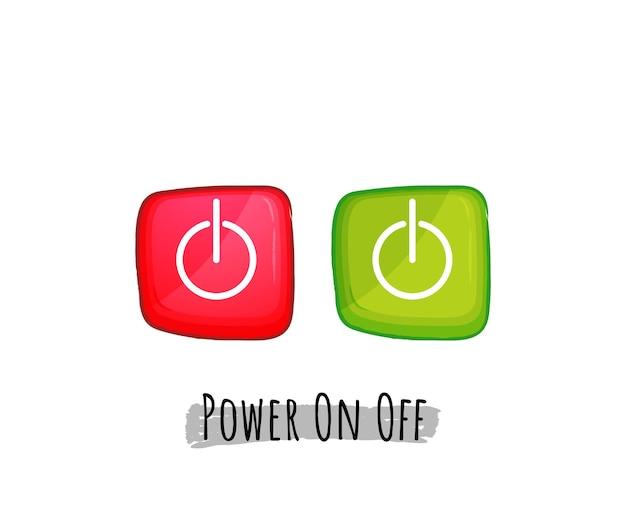 赤と緑のボタンアイコンセットアートイラストの電源をオフにします