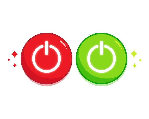 전원 끄기 빨간색과 녹색 버튼 아이콘 설정 아트 그림