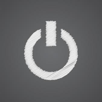 暗い背景に分離されたスケッチロゴ落書きアイコンの電源を入れます