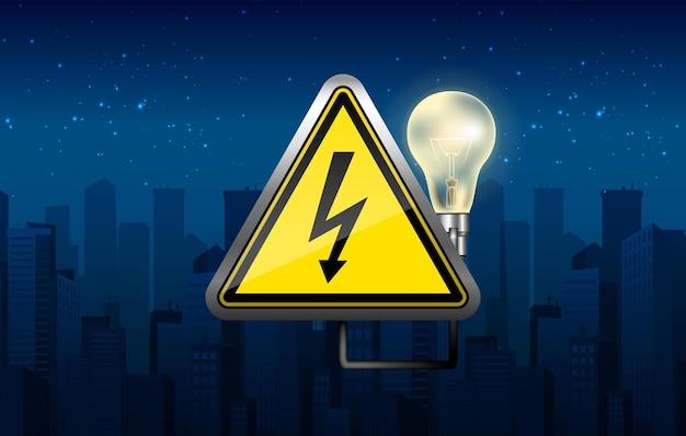 Баннер отключения электроэнергии с ночным городом и лампочкой