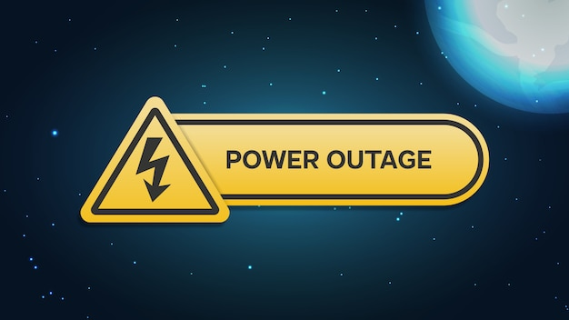 Power outage banner with a warning sign the one is on the background of the night city and bright moon and stars