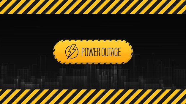 Power outage, black and yellow warning sign