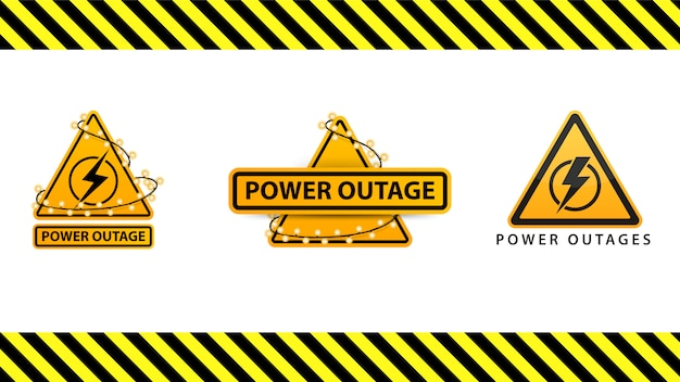 Power outage, collection yellow warning signs wrapped with garland on the white background isolated on white background