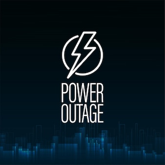 Power outage, dark blue digital poster with warning sign and abstract city without electricity on background